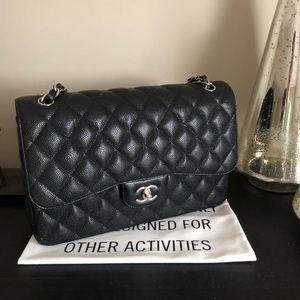 Chanel Black Classic Caviar Jumbo Double-Flap